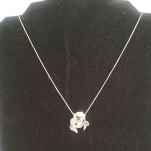 12k BHG Sterling Silver Frog Pendant Necklace